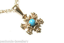 9ct Gold Turquoise Snowflake Pendant and Chain Gift Boxed Made in UK