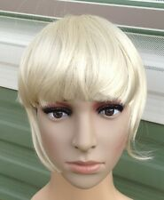 light blonde clip in on fake fringe bangs hair extension hair piece accessory 1