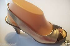 Vintage Anne Klein Piran Platform Gold Brown Slingback Shoes Size 7 @ cLOSeT