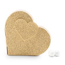 10 Gold Glitter Heart Bridal Shower Wedding Favor Boxes