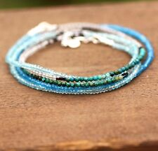 Long Canadian Labradorite , Apatite Chrysocolla Wrap Bracelet Necklace Silver