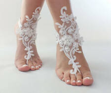 Wedding Shoes Lace Pearl White Bridal Anklet Beach Barefoot Sandal Jewelry
