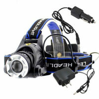 20000LM 12W XML T6 LED Head Torch 18650 Headlamp Zoomable Headlight + AC Charger