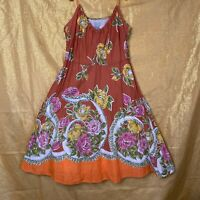 ODILLE BY ANTHROPOLOGIE Flowy Floral Orange Sunset Dress Size 8