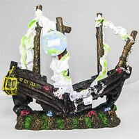 Sailing Shipwreck Sunken Galleon PolyResin Aquarium Fish Tank Aquatic Ornament