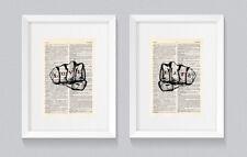 Love & Hate Puño Tatuaje Dedo Nudillo Vintage Arte de la pared de impresión de libro diccionario