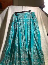 Women's Maxi Skirt By Liz&Me 3 Xlarge 100% Cotton Turquoise&White NWOT!