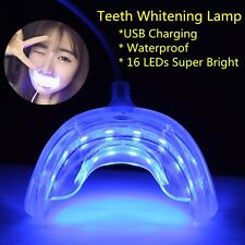 PORTABLE USB CHARGING DENTAL TEETH WHITENING 16LEDS BLUE LIGHT WITH MOUTH TRAY