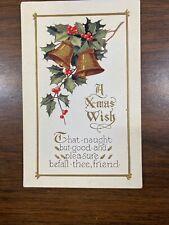 Lot Of 5 Embossed Vintage Merry Christmas Postcard, Santa Bells Trees