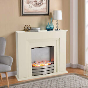 Standing Electric Fireplace MDF White Surround with Steel Fire Flicker Flame