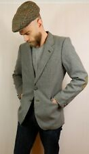 Vintage Tweed Style Wool Blazer Jacket Suede Elbow Patches Made in Portugal 36 S