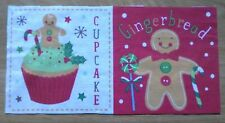 Christmas Fabric Material Remnant Cupcake & Gingerbread Material 6 x 12 inch,