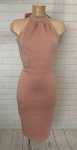 Blush Pink Halter Neck Figure Hugging Bodycon Knee Dress Size 10 - 20