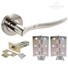 Waved Internal Chrome Door Handle Pack - Duo Polished/Satin Latch Door Handles