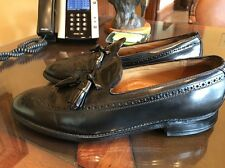 Johnston & Murphy Aristocraft Men's Black Leather Wing Tip Tassle Shoes Sz 10