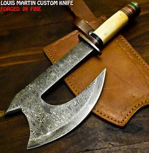 Louis Martin Handmade Damascus Steel Camel Bone Hunting Clever Chopper Axe Knife