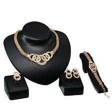 Fashion Women Gold Plated Crystal Bridal Jewelry Sets Alloy Necklace Earring Set