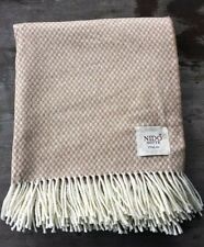 Nido Notte Italy Cotton Blend Throw – Tan and White - Made in Italy - New
