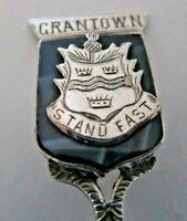 Solid Silver & Agate Souvenir Spoon, Grantown, 1922