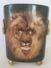 Rare VTG Hand Painted Male Lion William Guerin Limoges Art Deco Cache Pot Signed