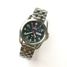 $395 GENTS 40MM BLACK DIAL SS 100M WR WENGER MILITARY WATCH 096.1009 & NEW BAND