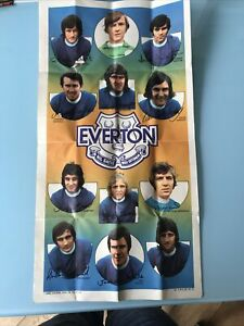 A&BC Chewing Gum Ltd Everton Team Poster 70s