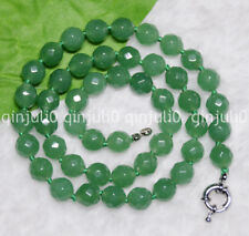 """New 8mm Natural Emerald Green Faceted Gems Round Beads Necklaces 18"""" JN532"""
