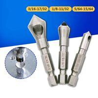 3Pcs/Set Wood Metal Drill Bit HSS Titanium Coated Countersink & Deburring Tool