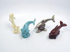 Lenox Figurines LOT of 4 Treasury of Dolphins, Porcelain Metal Pewter & Wood
