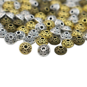 60Ps Gold Round Oval Loose Spacer Beads for Jewelry Making Bracelet DIY Craft
