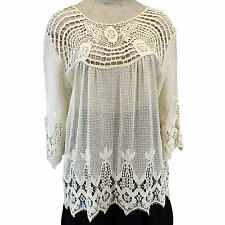 NEW XCVI Plus Size Open Mesh & Lace Knit Cotton Lagenlook Tunic Blouse 1X