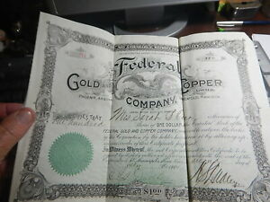 Old stock certificate Phoenix Arizona Federal Gold and Copper Company 100 shares