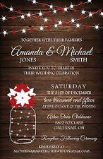 Wood Red & White Winter Lights Wedding Invitations 50 Invitations