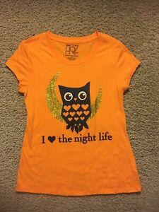 Woman's FRZ Orange With Owl T-Shirt ~Glitter~ Size XXL ~ But fits smaller ( L)