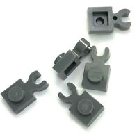 Lego 5 New Dark Bluish Gray Plates Modified 1 x 1 with Clip Vertical Pieces