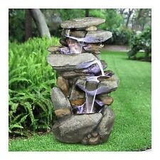 High Quality Fountain Rock Waterfall Decor Outdoor Garden Backyard w/ LED Lights