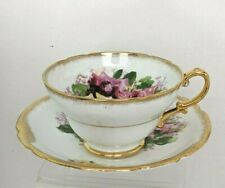 """HZ. """"Stanley"""" Gold Trim Tea Cup and Saucer, Pink & Yellow Cabbage Roses, England"""