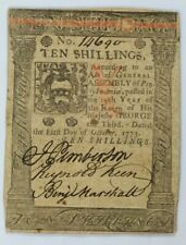 1773 Pennsylvania Ten Shillings Colonial Note 10s - PA-167