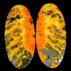 51.85Cts 16X35X5mm 100% Antique Natural Bumble Bee Jasper Oval Pair Cab Gemstone