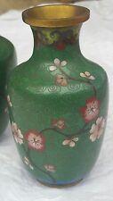 Vintage Vase Cloisonne Lot Matching Pair Green Flowers Retro