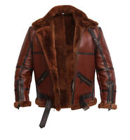Men's B6 Bomber Ginger Real Shearling Sheepskin Flight Aviator Winter Jacket