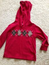 Gymboree Boys Empire State Express Red Argyle Hooded Shirt Size 3T