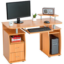 Computer desk table office workstation study writing PC furniture drawers beech