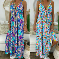 Summer Strappy Boho Floral Maxi Dress Women Holiday Beach Sundress Plus Size New