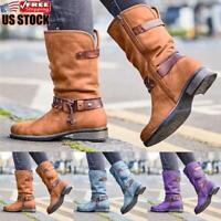 Women's Mid Calf Boots Ankle Ladies Biker Buckle Zip Winter Casual Shoes Size