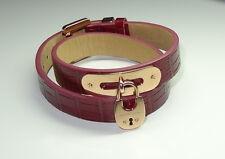 MKJ4808791 Michael Kors Armband Leder Cityscape padlock crocodile Rot Rosegold