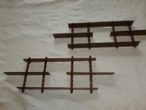 """2 Vintage Retro 3 Tier 4 Shelf Wall Hang Wood Curio MID CENTURY Spindles 9X26"""""""