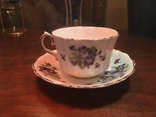 VINTAGE OLD ROYAL BONE CHINA ENGLAND TEA CUP & SAUCER PURPLE FLOWERS 2986