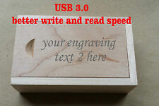 Personalised Gift Wooden Laser engraved 16GB usb 3.0 flash drive with box