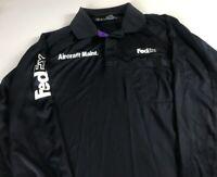 FedEx Long Sleeve Polo Shirt Mens 2XL Dri-Fit Aircraft Maintenance Front Pocket